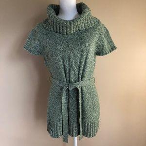 Dress Barn   Green Short-Sleeve Sweater w/ Tie  L